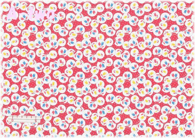 LECIEN Retro 30's Child Smile チューリップ レッド 31442-30 (約110cm幅×50cm)