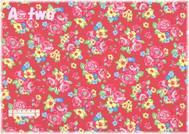 LECIEN Retro 30's Child Smile エレガントフラワー レッド 31444-30 (約110cm幅×50cm)
