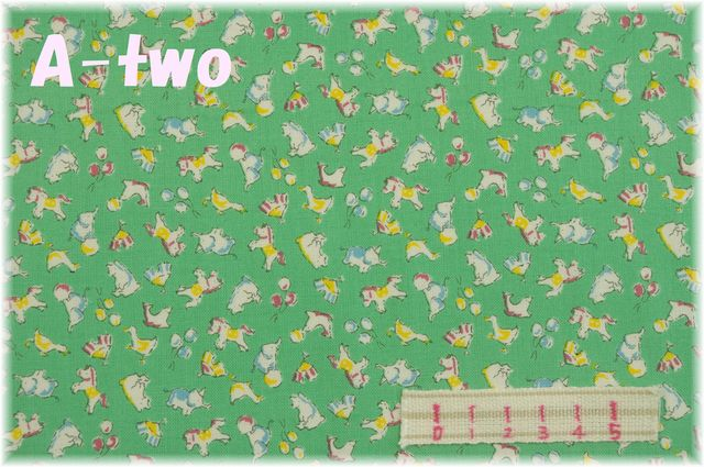 LECIEN Retro 30's Child Smile サーカス グリーン 35064-60 (約110cm幅×50cm)